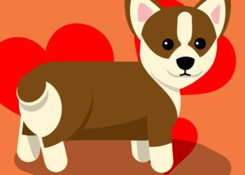 cane dolce con cuori