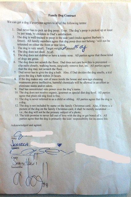 I figli chiedono un cane, il padre accetta, ma fa firmare loro un contratto!