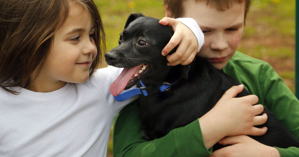 Cane con due bambini