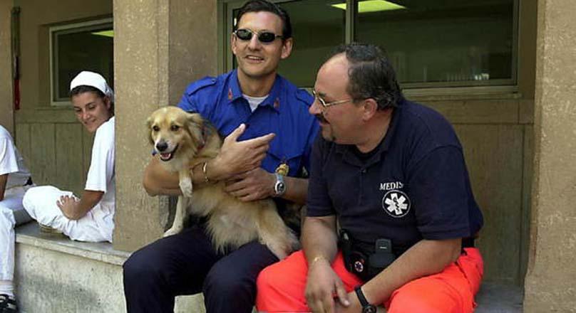 Cane Volpino in braccio ad un uomo
