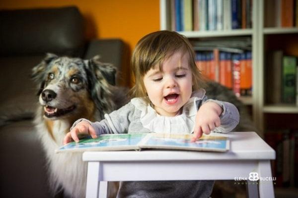 cane e bimba a scuola