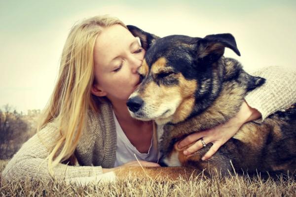 un cane viene abbracciato dalla sua padrona
