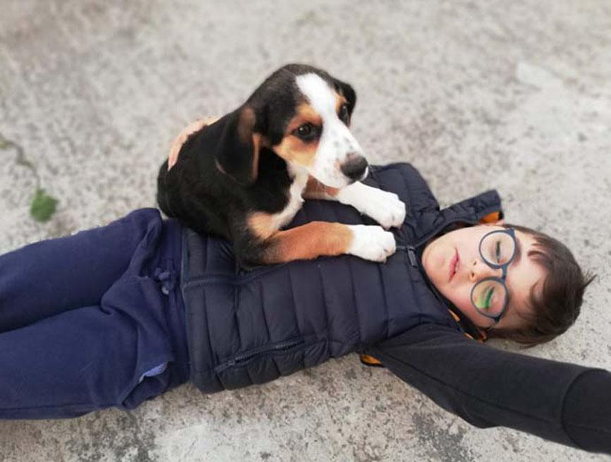 Un cane con il bambino Gabriele