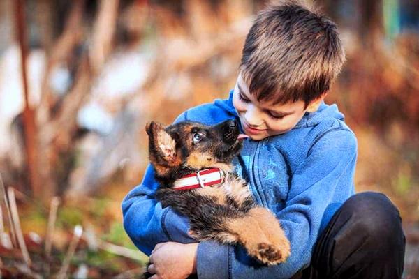 bambino che coccola il suo cane