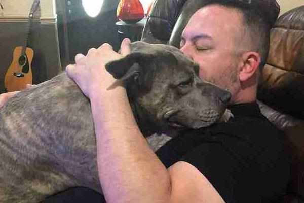 Cane abbracciato da uomo