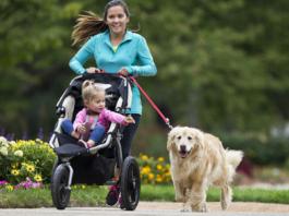 corsa con cane, passeggino bambino
