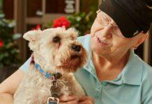 il-cane-fa-visita-alla-proprietaria-che-sta-combattendo-contro-il-cancro
