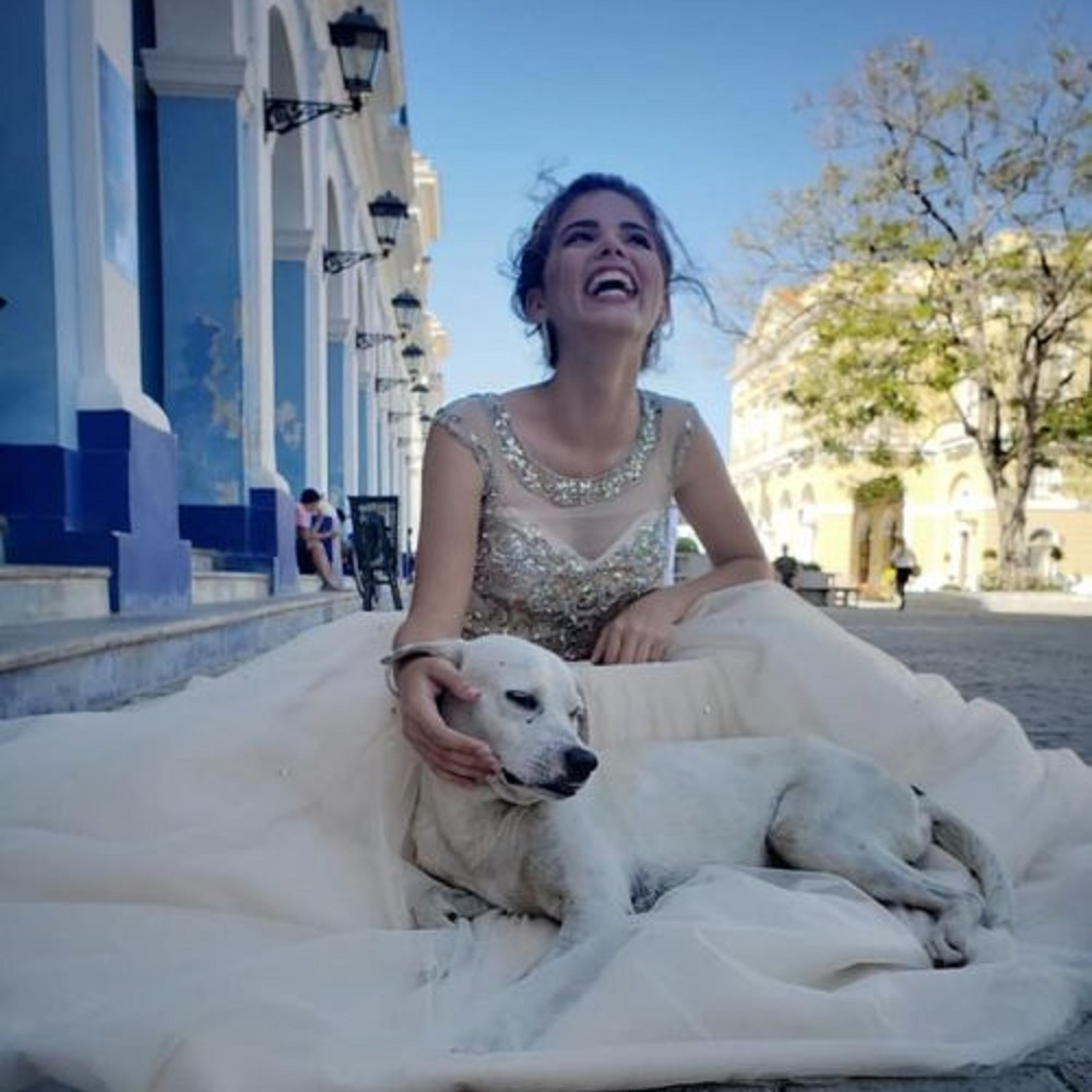 Un cane appare durante le foto del compleanno donando gioia ed allegria