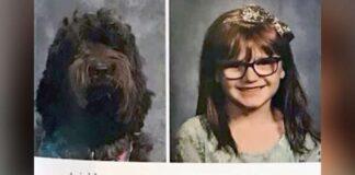 cane fotografato con una bambina