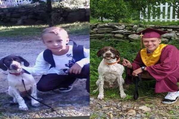 Il cagnolino Ruger e il suo padrone hanno ricreato la foto del primo giorno di scuola il giorno del diploma