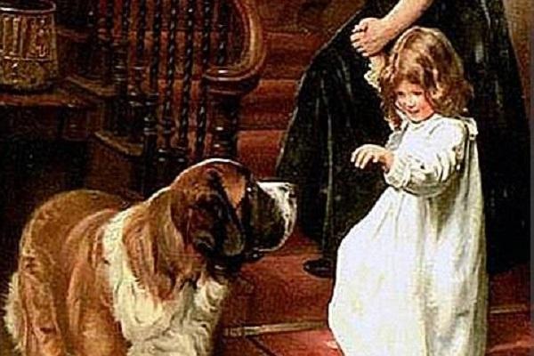 cane san bernardo e bambina
