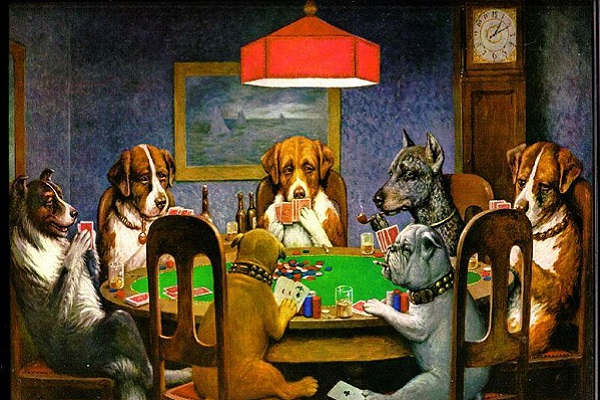 cani attorno al tavolo da gioco