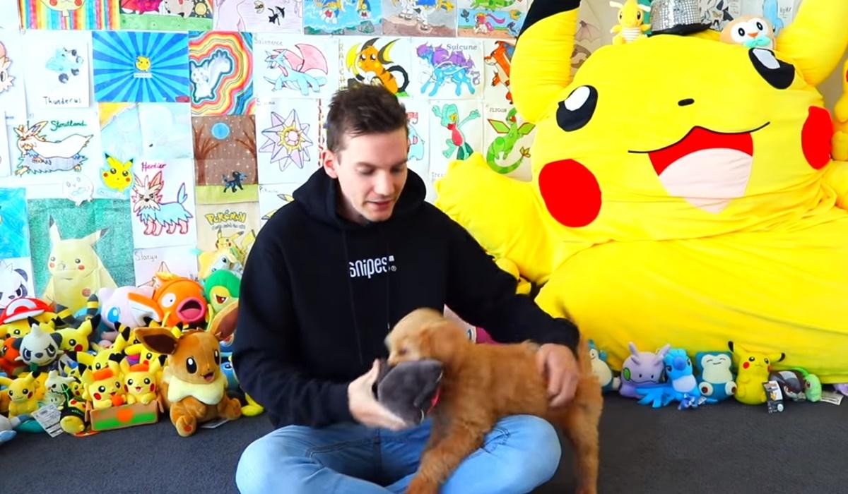 ragazzo gioca con il suo cucciolo