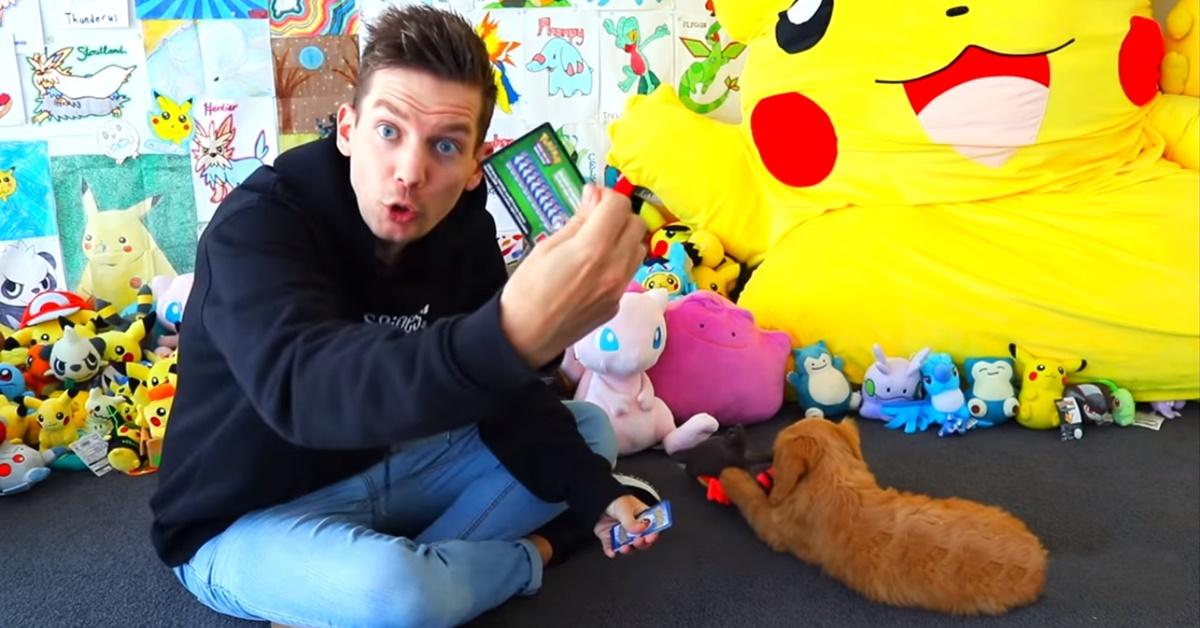 ragazzo gioca con il cane e i pokemon