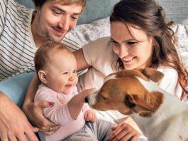famiglia adotta un cane