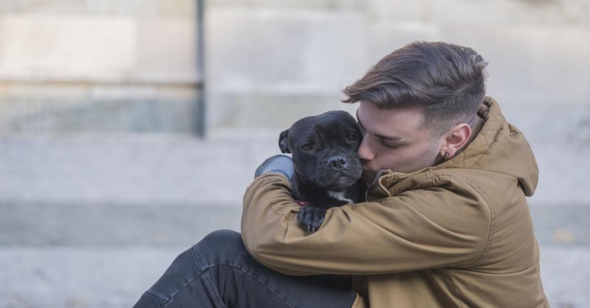 cane nero che abbraccia ragazzo
