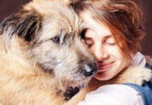 abbraccio tra cane e ragazza