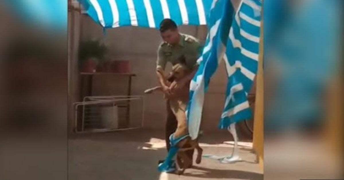 poliziotto riceve un abbraccio da un cane