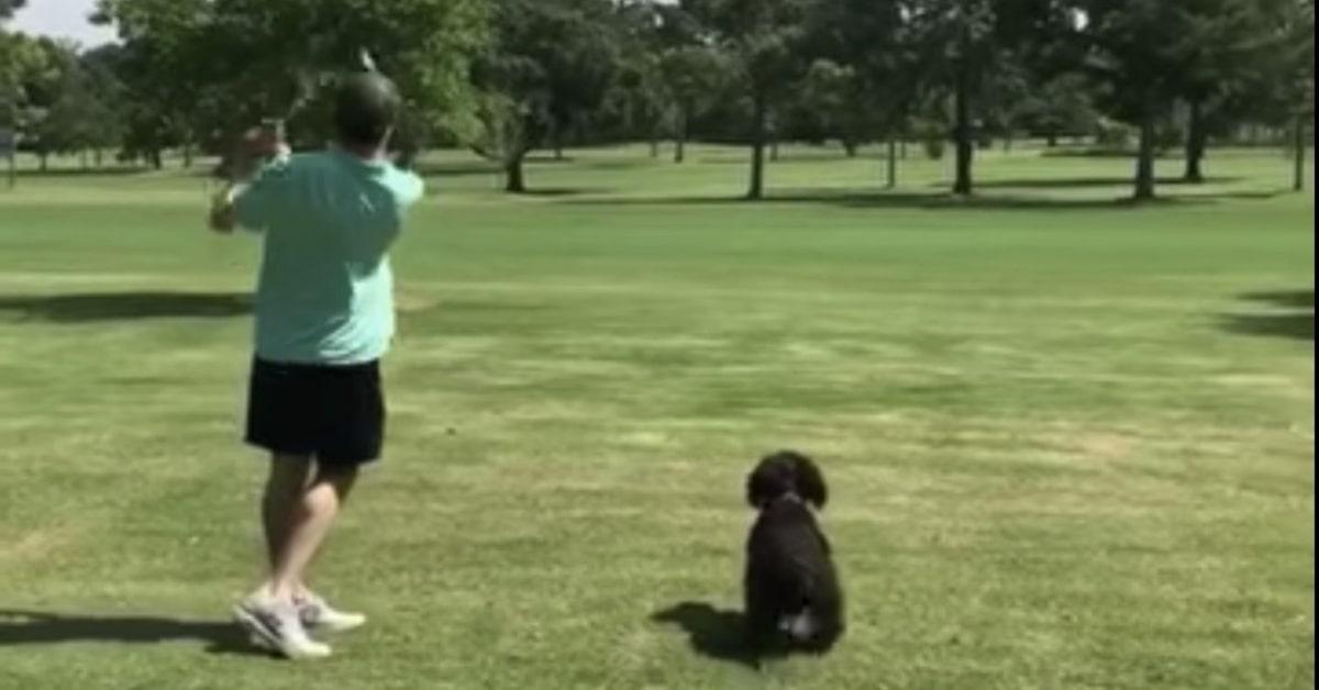 Uomo concilia lo sport con il gioco con il cane