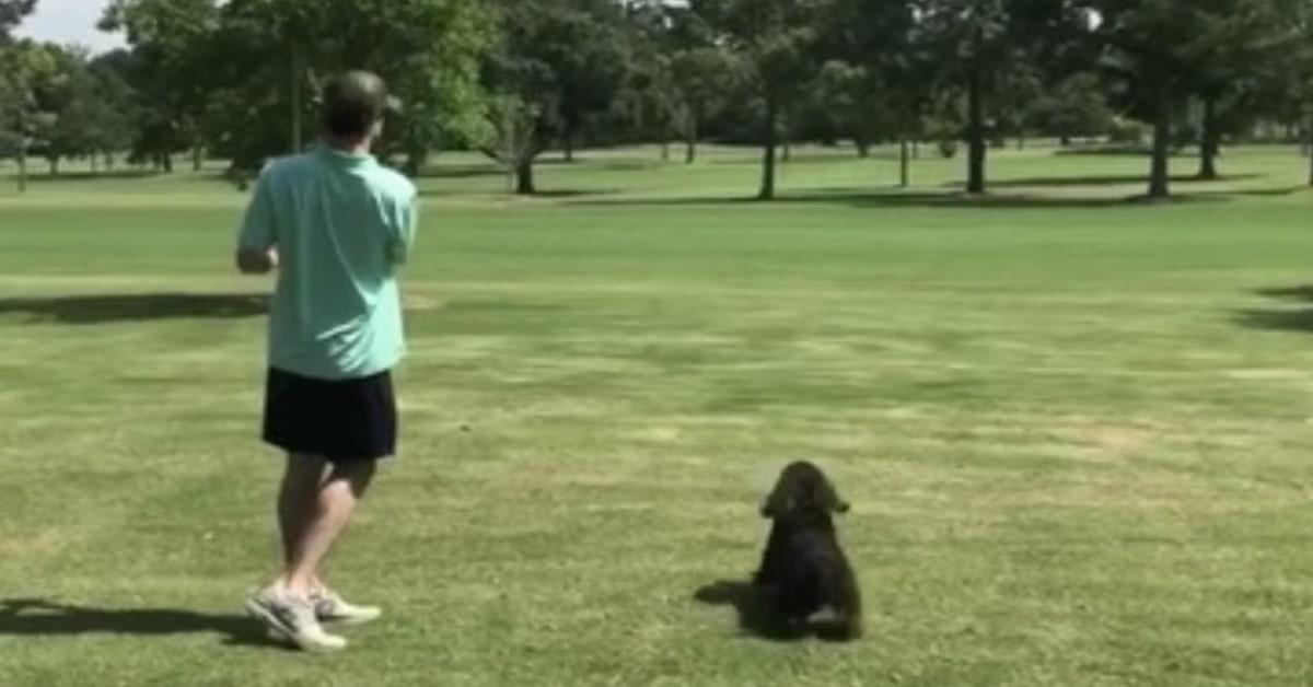 un signore gioca a golf con il suo cane nero