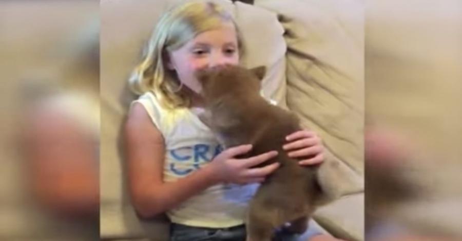 Bimba felicie con il suo nuovo cane