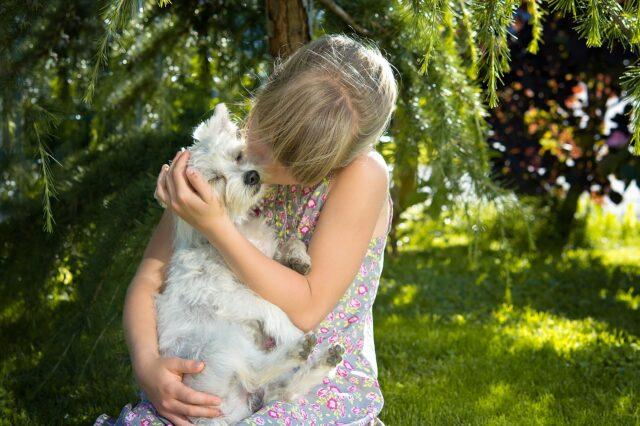 bimba stringe un cane tra le braccia