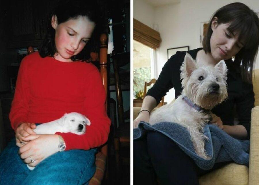 cane fra braccia mamma