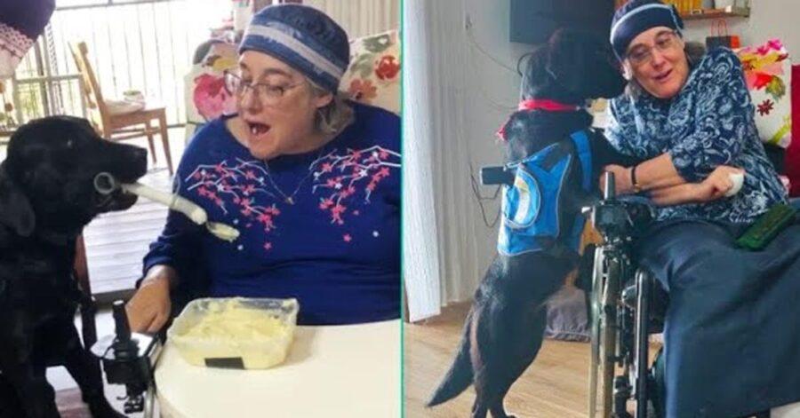 Cane con una donna