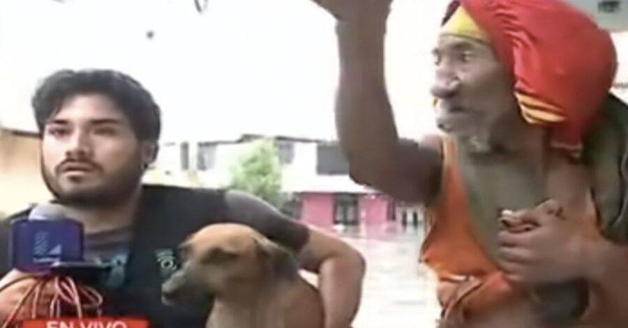 cagnolina salvata durante inondazione in Perù