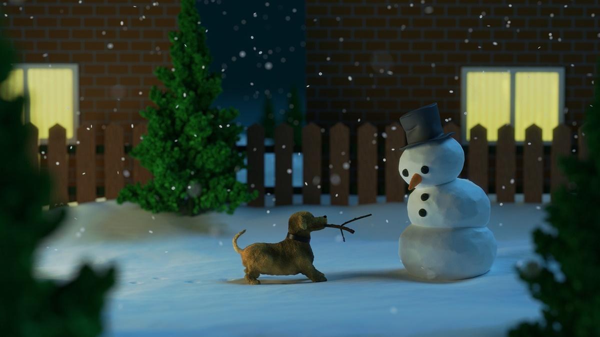 cane gioca con pupazzo di neve