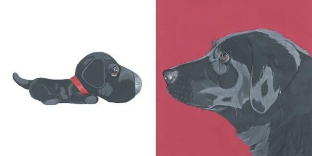 cane con pupazzo uguale