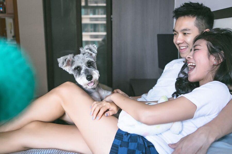cane con genitori