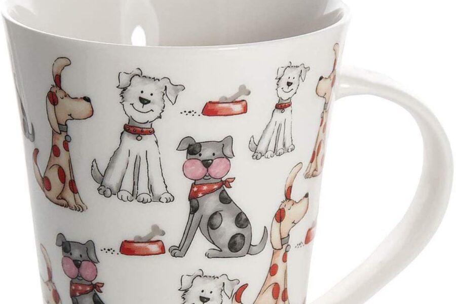 tazza con cani stampati