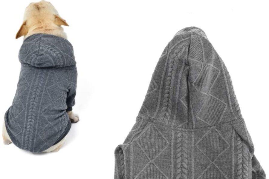maglione con cappuccio per il cane