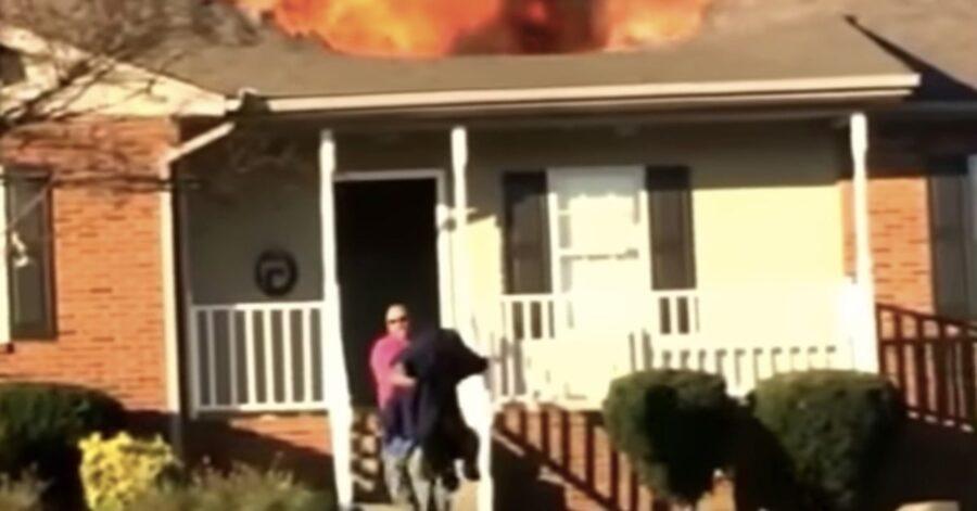 cane salvato da un pompiere