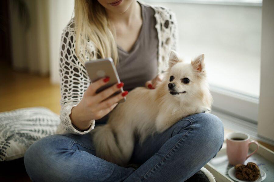 ragazza con cane e cellulare