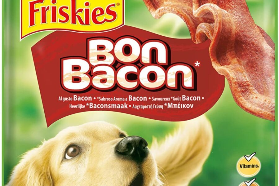 snack al bacon per il cane