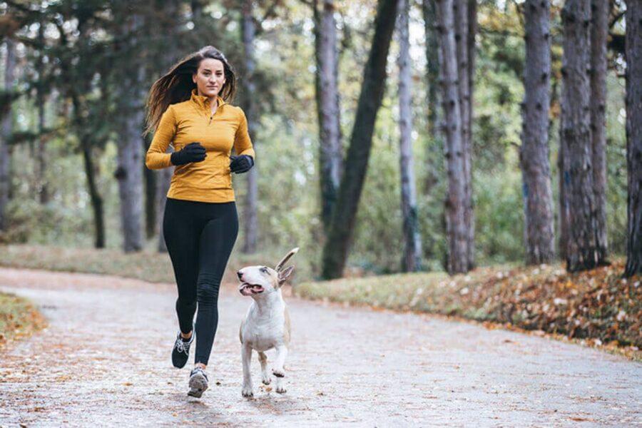 cane che corre con la sua padrona