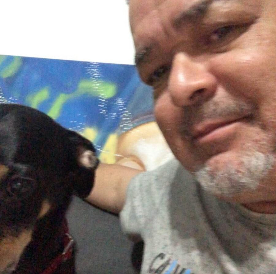cane e padrone in un selfie